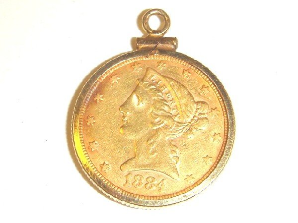 43: 1884 US $5 Gold Coin