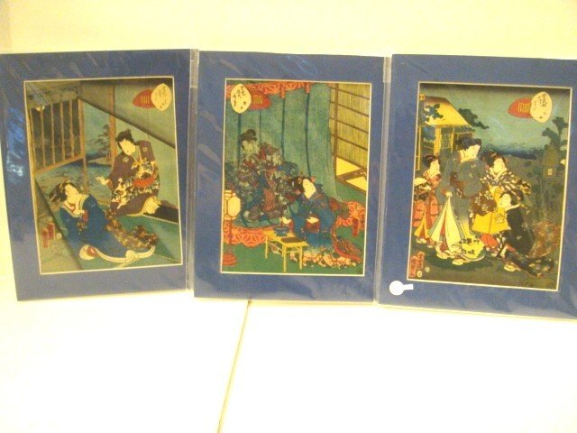 12: 3 Japanese Silk Prints