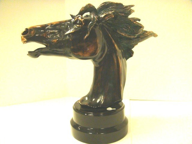 14: Horse Head Statuary with Bronze/Copper Overlay