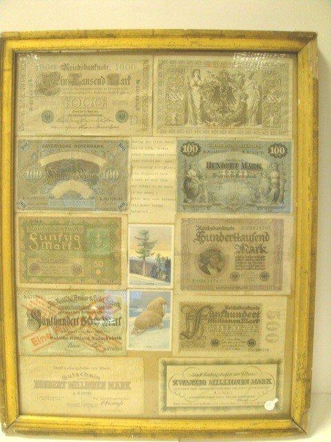 17: Post World War I Framed German Notes/Marks