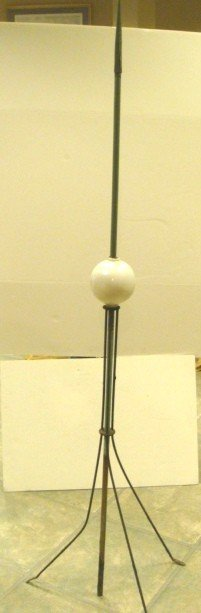 19: Vintage Wrought Iron Lighting Rod With White Glass