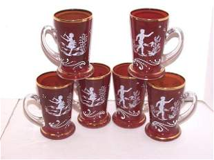 6 Mary Gregory Ruby Glasses