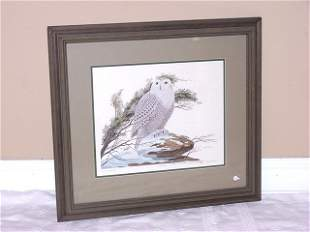 "John A Ruthven signed Print ""Snowy Owl"""