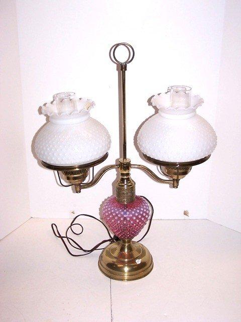 19: Cranberry hobnail table lamp