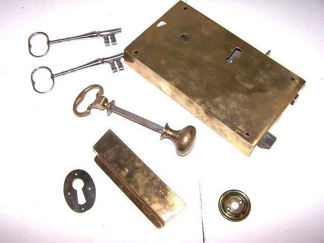 69: Williamsburg Brass Rim Lock, By Folger Adam Co