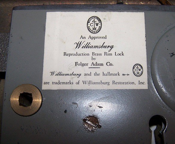 69: Williamsburg Brass Rim Lock, By Folger Adam Co - 3