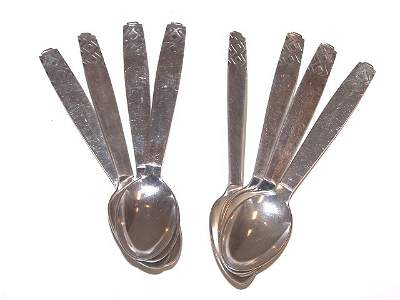 73: 8 Danish Deco Sterling Silver Spoons