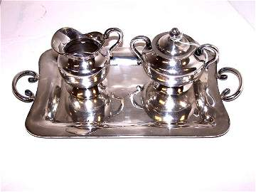40: Sanborns Mexican Sterling Silver Tray Set