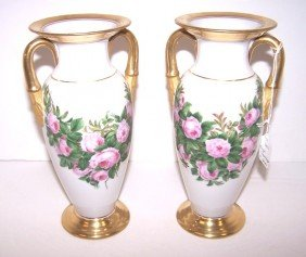 Pair Of Royal Copenhagen Floral Vases