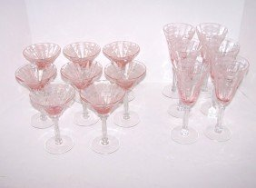 2: Pink Etched Glass Stemware