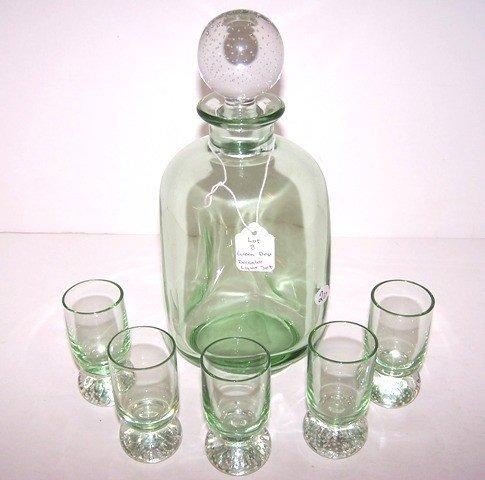 8: Green Depression Liquor Set