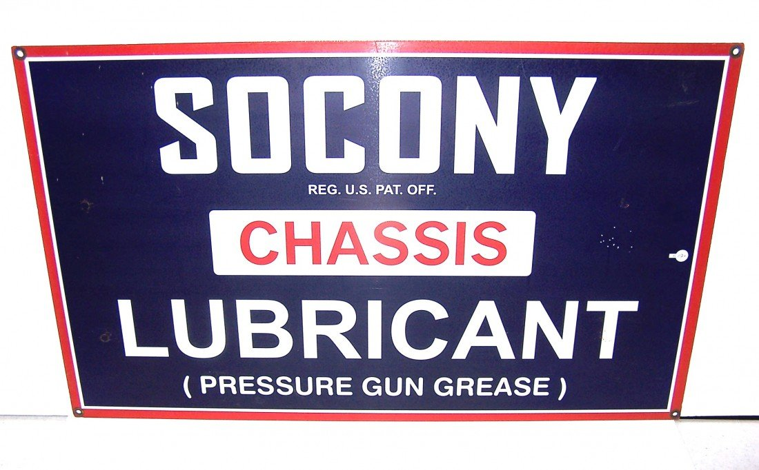 21: Socony Chassis Lubricant Porcelain Sign