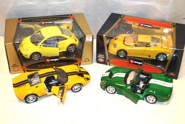 11: Lot of 4 Burago Collectible 1/18 Scale Cars