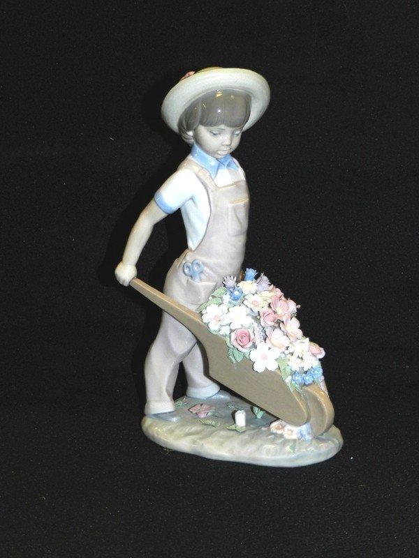 1: Lladro Gardener Boy With Wheel Barrel