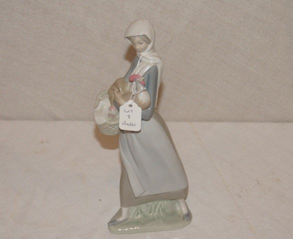 8: Lladro Figurine of Women with Rooster