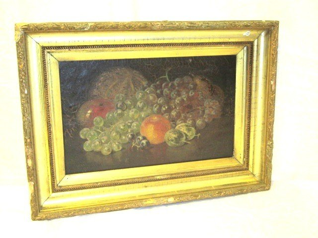 11: 19th Century Fruit Still Life Oil on Canvas
