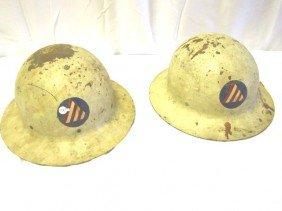 "12: 2- WWII Civil Defense ""Air Raid Warden"" Helmets"
