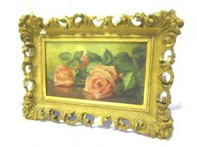 "15: School House ""Roses"" Still Life Oil on Canvas"