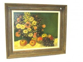 16: Fruit & Floral Still Life Oil Painting by Edith M.