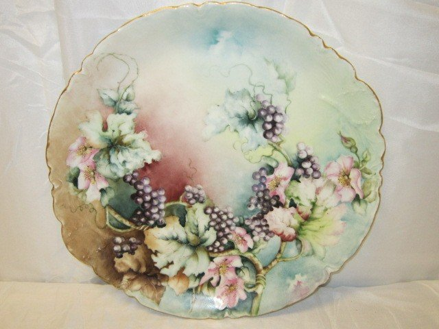18: French, Haviland Hand Painted Flower/Berry Charger