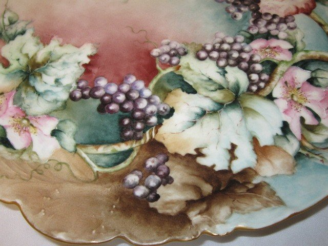 18: French, Haviland Hand Painted Flower/Berry Charger - 2