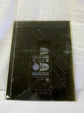 21: 1950's NU-ZEST Advertising Glass Printer Plate
