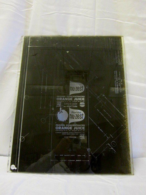 21: 1950's NU-ZEST Advertising Glass Printer Plate