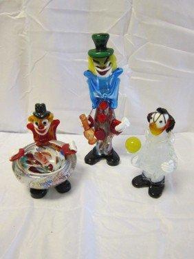 23: Lot of 3 Venetian Murano Art Glass Clown