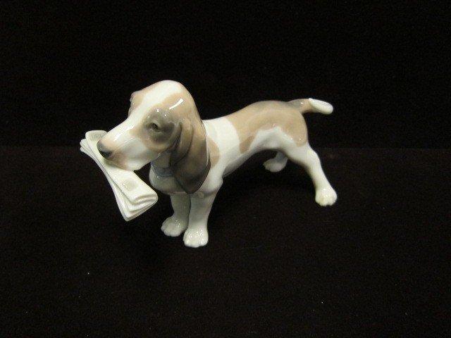 1: Lladro Dog With Newpaper Figurine
