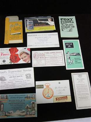 Trade card and matchbook covers