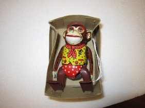 Inakita Walking Tin Wind-Up Monkey W/ Box