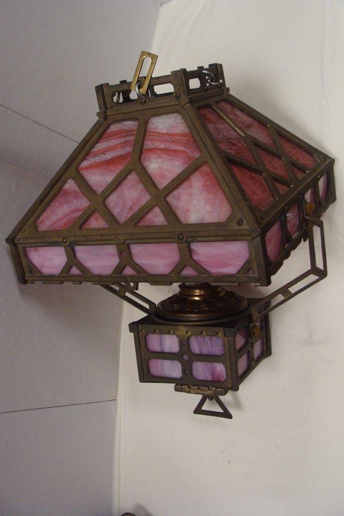 Arts & Crafts Style Hanging Kerosene Lamp