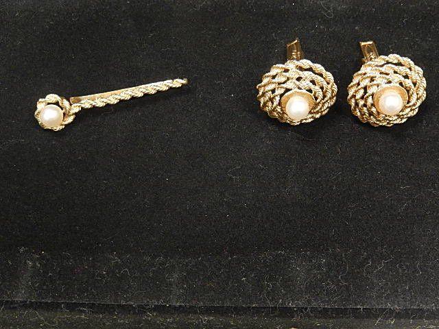 14K Gold Cuff Links & Tie Clip