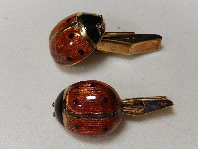 Sterling Silver Electroplated with 24k Gold Lady Bug Cu