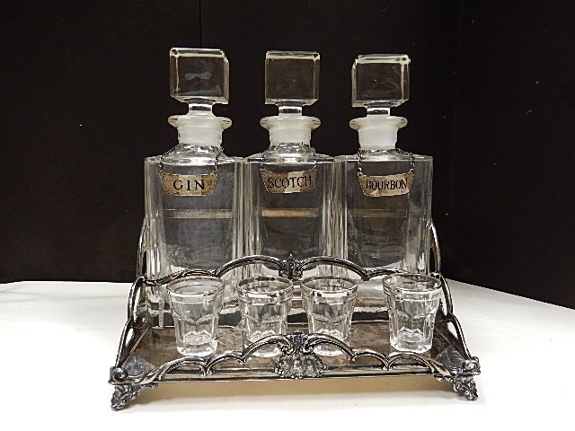 Silver Plate Decanter Set