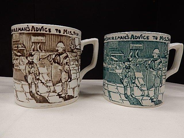 2 Albion Pottery Tyke Brown & Green Transferware Mugs