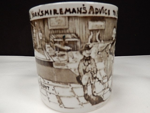 2 Albion Pottery Tyke Brown & Green Transferware Mugs - 3