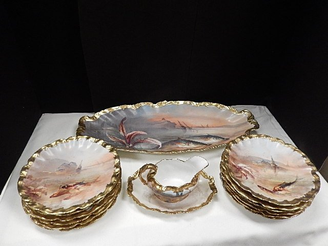 15 PC. Limoge Hand Painted Fish Set  c.1890-1910