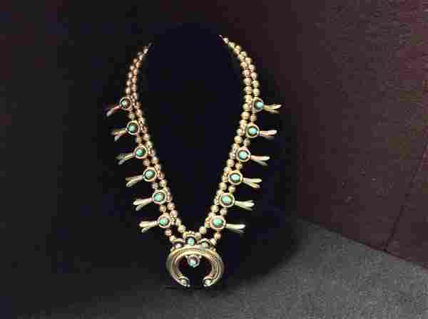 Native American Squash Blossom Necklace. Signed.