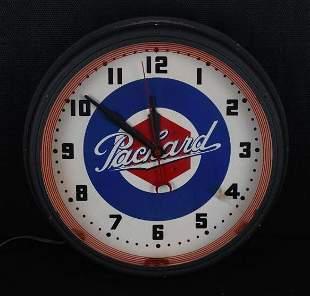Packard w/Lug Nut Logo Neon Clock