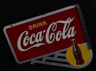 Drink Coca-Cola w/Bottle Metal Flange Sign