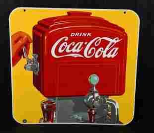 Drink Coca-Cola w/Art Deco Motor Boat Dispenser Sign