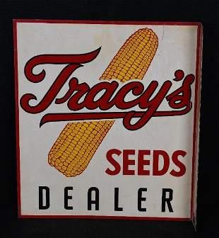 Tracy's Seeds Dealer Metal Flange Sign