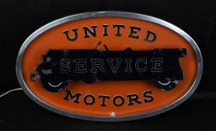 United Motor Service Lighted Counter-Top Sign