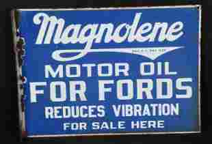 Magnolene Motor Oil For Fords Porcelain Sign
