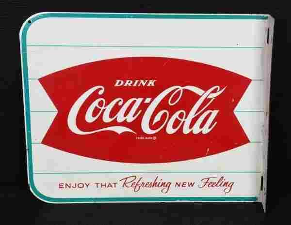 Drink Coca-Cola w/Fish Tail Logo Metal Sign