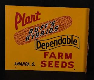 Plant Ruff's Hybrids Dependable Farm Seeds Metal Sign
