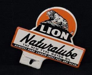 Lion Naturalube Motor Oil Metal License Plate
