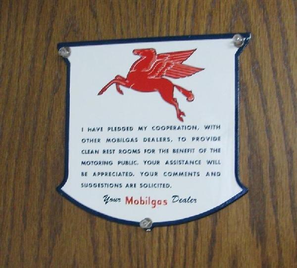 """6: Mobilgas """"Pledged"""" Rest Room SSP shield-shape sign,"""