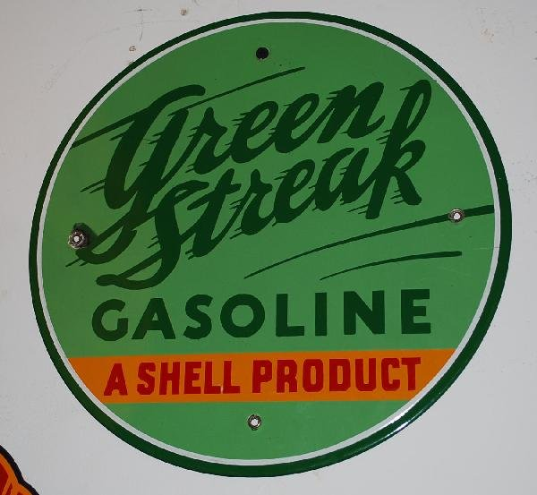 """8: Green Streak """"A Shell Product""""  PPP sign,  12 inch,"""